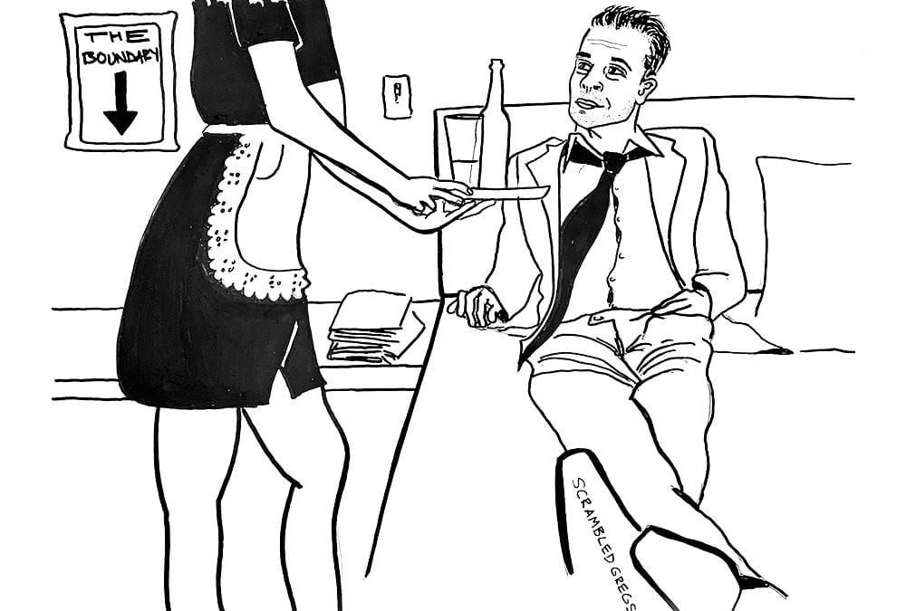 maid serving guy wine