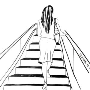woman going up the stairs